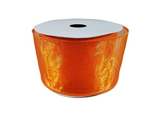 Organza Wired Edge Sheer Ribbon for Gift Wrapping, Bows, Wedding Favors, Party Decorating and Crafts, 2.5 Inches by 25 feet (Orange)