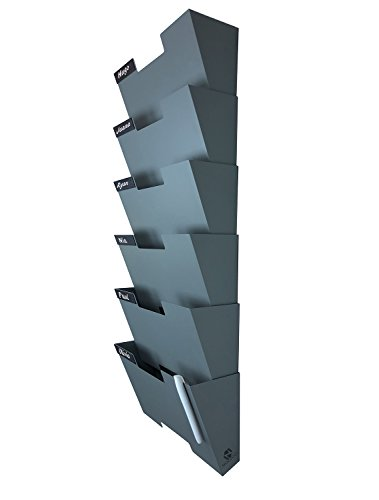 Gray Wall Mount Hanging File Holder Organizer 6 Pack Durable Steel Rack, Solid, Sturdy and Wide for Letters, Files, Magazines and More Organize The Desktop, Declutter Your Office Nozzco (Holder File Decorative)