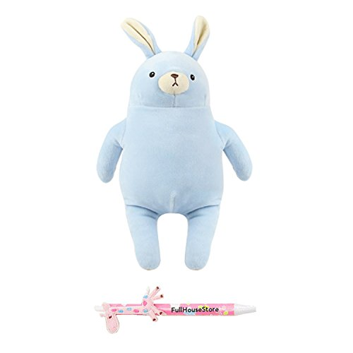 Miniso Cute Bunny Rabbit Stuffed Animals, Plush Pillow Toy, Gift for Kids, Blue, 12