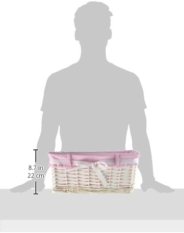 WoodLuv Medium Rectangular Willow Wicker Gift Hamper Storage Basket with Pink Dot Fabric and Ribbon White
