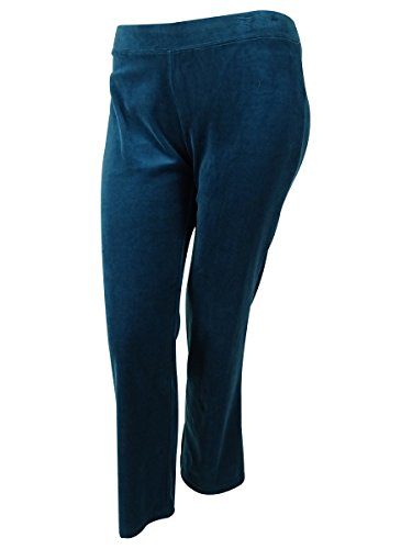 Style & Co Women's Sport Velour Pants (3X, Rustic Teal)