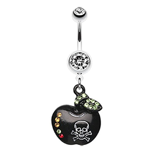 Black Poisoned Apple Skull 316L Surgical Steel Freedom Fashion Belly Button Ring (Sold by Piece)