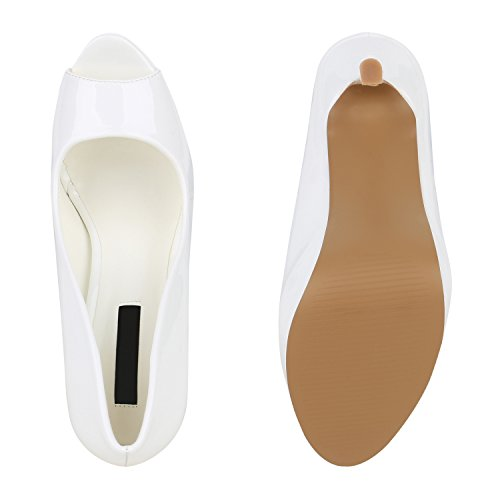 Stiefelparadies Damen Plateau Pumps Lack Peeptoes Stiletto High Heels Party Schuhe Glitzer Absatzschuhe Abiball Flandell Weiß