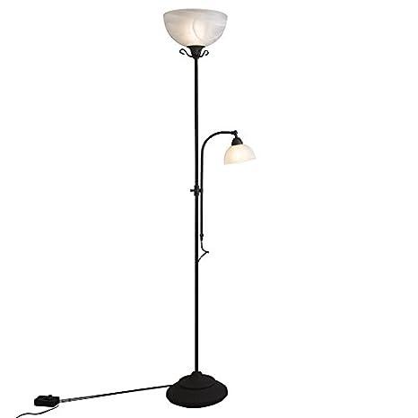 QAZQA rústico Lámpara de pie clásica marrón con lámpara de lectura y dimmer - Dallas Vidrio/Acero Redonda/Alargada Adecuado para LED Max. 1 x Watt