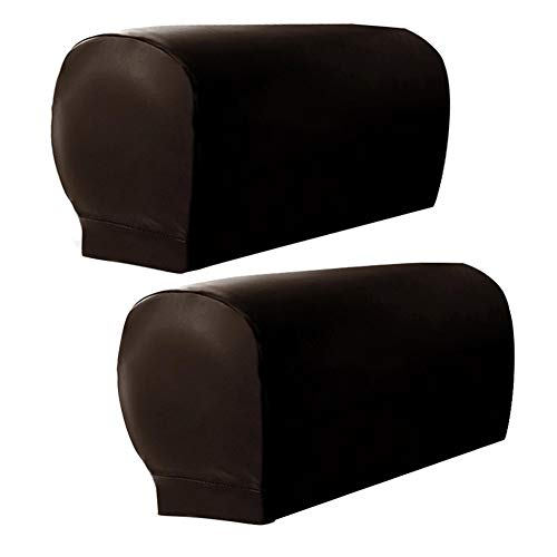 ZEENEEK 2pcs Sofa Armrest Covers,Armchair Arm Covers Stretch Sofa Arm Caps Armrest Covers for Chairs Furniture Protector Set,Armrest Covers Spandex PU Leather Arm Caps for Arm Slipcovers (Brown)