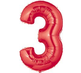 Factory Card and Party Outlet Number 3 Metallic Red 40in Balloon for $<!--$5.99-->
