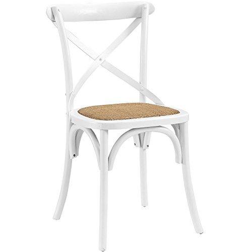 Modway Gear Modern Farmhouse Cross Back Solid Elm Wood Dining Side Chair With Rattan Seat In White - Curved Back Dining Chair