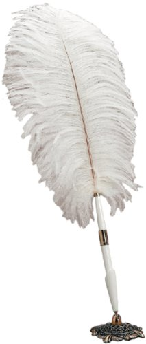 Darice White Feather Pen with Decorative Base Holder