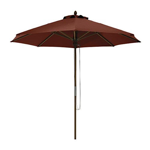 Classic Accessories Montlake FadeSafe 9-Foot Round Bamboo Patio Umbrella, Heather Henna
