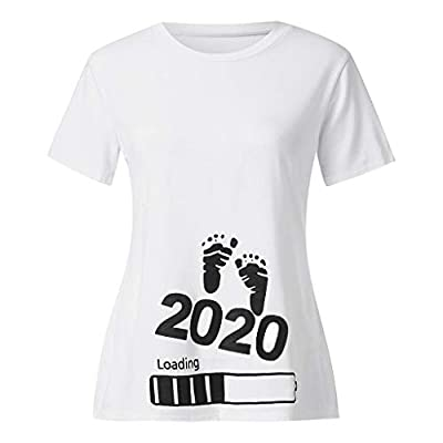 Women's Maternity Top Funny 2020 Baby Foot Print Summer Casual Loose Pregnancy T-Shirt Mama Short Sleeves Nursing Blouse: Kitchen & Dining