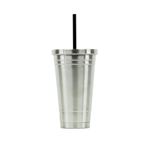 Hot or Cold - Stainless Steel Drink Tumbler - Double Wall Vacuum Insulated -18oz. Capacity - Stainless (Brushed Stainless Steel Dome)