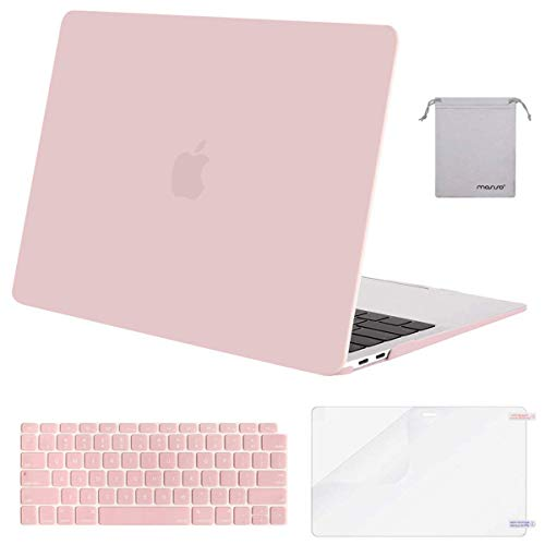 MOSISO MacBook Air 13 Inch Case 2018 Release A1932 with Retina Display, Plastic Hard Shell & Keyboard Cover & Screen Protector & Storage Bag Only Compatible Newest MacBook Air 13, Rose Quartz