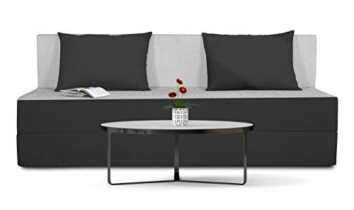 Adorn India Easy Three Seater Sofa Cum Bed (Black and Grey)