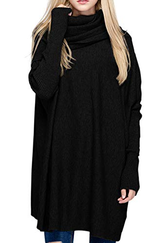 BOBIBI Women Oversized Cowl Neck Sweaters Long Sleeve Loose Fit Knitted Pullover,Black