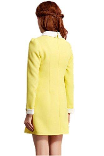 Shineflow Womens Basic Peter Pan Collar Long Sleeve Mini Dress (Medium, Yellow)