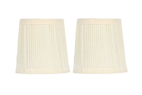 - Upgradelights 4 Inch Pleated Drum Chandelier Lamp Shade Clip in Eggshell (Set of Two) 3x4x4