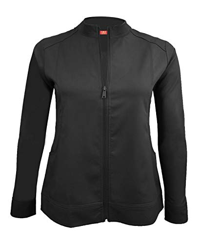 M&M Scrubs Women's Ultra Soft Front Zip Warm-Up Scrub Jacket (XX-Large, Black)]()