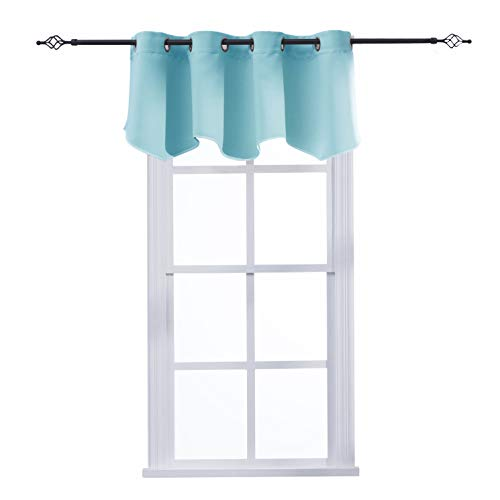 Aquazolax Kitchen Curtains Grommets Window Treatments Valance Elegant Blackout Scalloped Valance Curtain Panel for Living Room, W52 x L18, Turquoise, 1 -