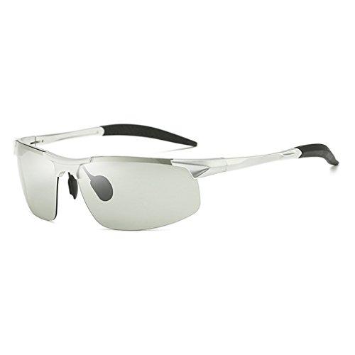 De Noche Día Sol De Sol La Plata Gafas con para Polarizadas Marco TLMY Polarizados Hombres Dual Uso Metálico De Color Vidrios Gafas La Plata Color Y de 0xqw5z