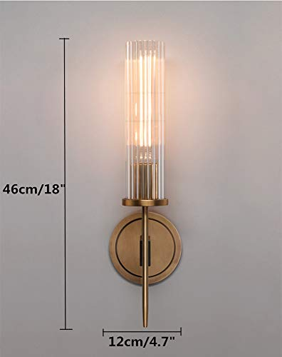 Interior Lighting BOKT Mid-Century Modern Wall Sconce Brass Wall Light with Crystal Cylindrical Shade Minimalist Decor Vanity Lighting for… modern wall sconces