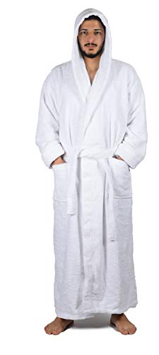 Arvec Men's Combed Turkish Cotton Terry Full Ankle Length Hooded Bathrobe (XXX-Large/XXXX-Large, White)