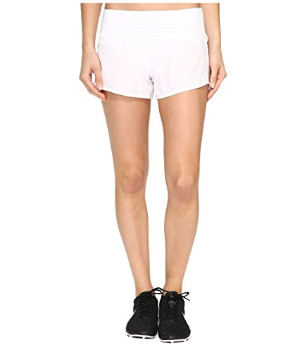 (NIKE Women's 3'' Dry Running Shorts (X-Large, White/Reflective Silver))