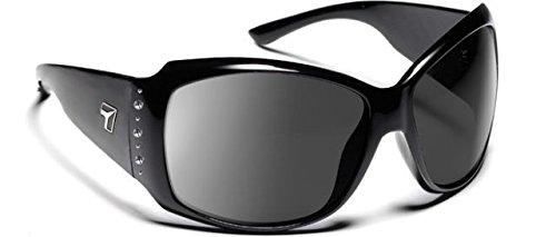7 Eye Natasha Sunglasses, Glossy Black with Bling Frame, SharpView Gray PC - Sunglasses Natasha