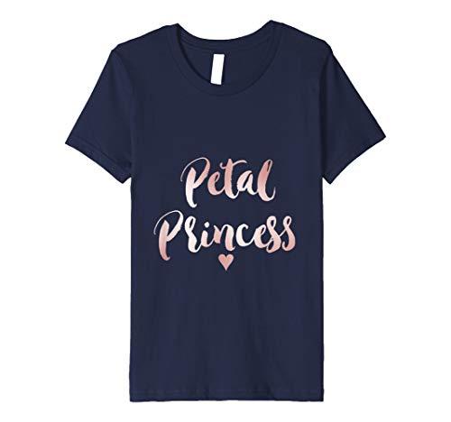 Kids Pink Blush Rose Gold Petal Princess Flower Girl Shirt 4 Navy