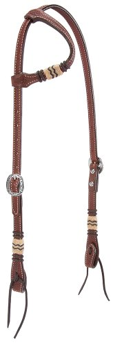 Ear Bridle (Weaver Leather Basketweave Bridle Leather Flat Sliding Ear Headstall with Rawhide Accents)