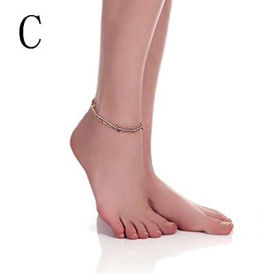 Binmer Barefoot Sandal Beach Foot Chain Sliver Charm Anklet Bracelet Gift for cheap