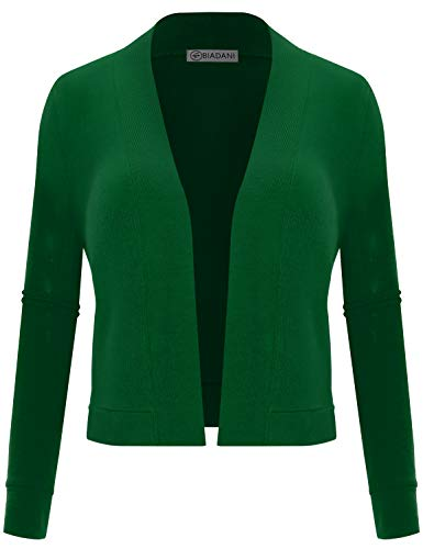 Kelly Green Ribbed (BIADANI Women's Long Sleeve Cropped Cardigan Kelly Green X-Large)