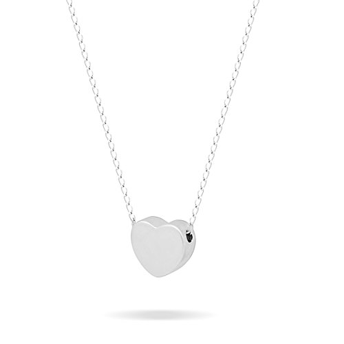 - 925 Sterling Silver Tiny Silver Heart Necklace Floating Silver Heart Necklace Simple Heart Charm Modern Minimalist Jewelry Necklace 15inch + 2 Extension w Lobster Clasp
