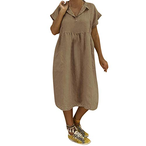 Taffeta White Wedding Gown - TnaIolral HOT!Ladies Dresses Turn-Down Collar Summer Short Sleeve Loose Cotton Lace Skirt (XXXXL, Khaki)