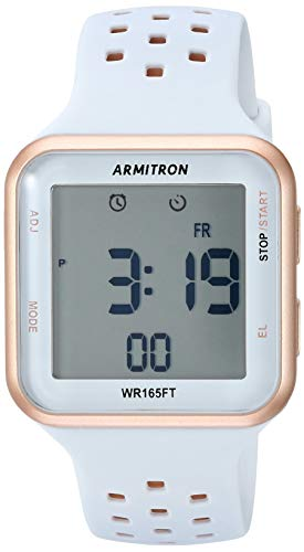 Armitron Sport Unisex 40/8417PBL Digital Chronograph Rose Gold-Tone and Powder Blue Perforated Silicone Strap Watch -
