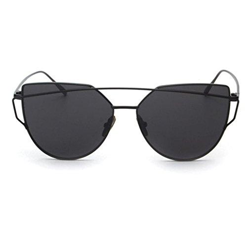de Classic métal de lunette Lunette Black Unisexe en en Soleil Beams miroir Twin Lunettes métal Mode IMJONO w10q5nzZq