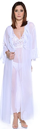 Women's Chiffon Nightgown With G-String and Robe 3 Pieces Set #60753074 (L, White) (Chiffon Shirley Robe)