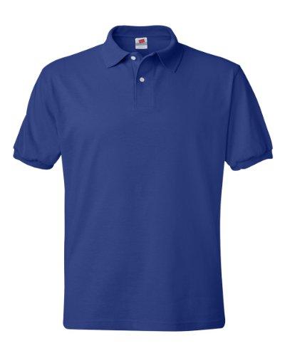 Hanes Men's 5.2 oz Hanes STEDMAN Blended Jersey Polo, L-Deep Royal