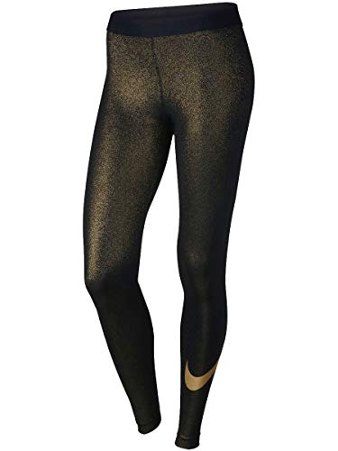 - Nike Womens Pro Cool Dri-Fit Sparkle Swoosh Tight Pants (Small, Gold)