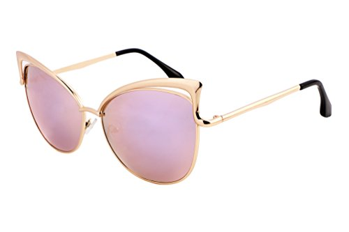FEISEDY Sexy Cateye Women Sunglasses Metal Frame Flat Mirrored Lens - Sexy Sunglasses Women For