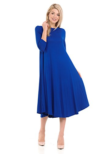Trapeze Dress (iconic luxe Women's A-Line Swing Trapeze Midi Dress Large Royal Blue)