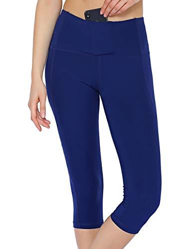 Rocorose Women's Yoga Pants 4 Way Stretch High Waist Inner Pockets Workout Running Leggings Navy Blue L
