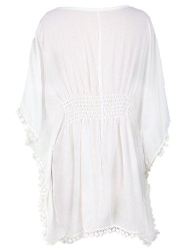 Ohyeah–Vestido de playa verano playa, UPS del Big O-Neck extragrande blanco