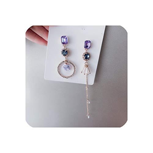 Sweet Girl Flowers Cute Earrings Purple Long Drop Earrings For Women Jewelry Accessories,31 ()
