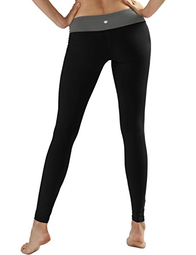 Yogareflex Women's Active Workout Running Yoga Leggings Pants Hidden Pocket , Black , Small