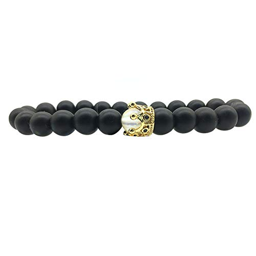 CHoppyWAVE Multilayered Bracelet Set for Women Girls,1/2Pcs Imperial Crown Charm Bracelet Elastic Beaded Bangle Valentine's Day Gift - Black ()