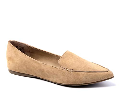 Greatonu Women's Faux Suede Comfort Slip-on Penny Loafer Flat Shoes (9 US, Beige Pointed Toe)