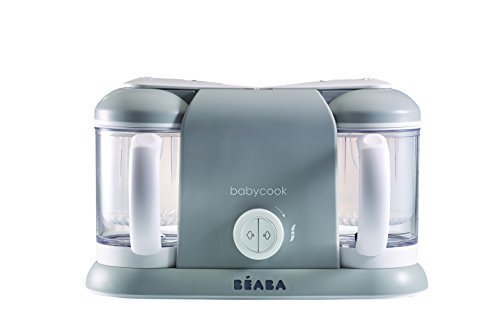 BEABA Babycook Plus 4 in 1 Steam Cooker and Blender, 9.4 cups, Dishwasher Safe, Cloud (Baby Food Maker Beaba)
