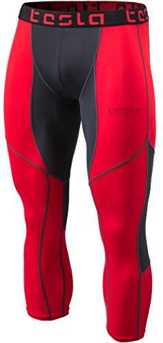 TSLA Men's Mesh-Panel Compression 3/4 Capri Pants Baselayer Cool Dry Sports Running Yoga Tights, Mesh(muc78) - Red & Charcoal, Large.