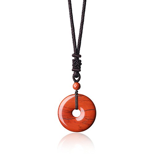 (AmorWing Healing Genuine Crystals Red Jasper Stones Round Donut Pendant Necklace )