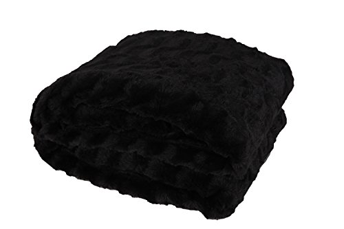 HappyCare Textiles Embossed Faux Fur Rev To Sherpa Throw Blanket, Dark Charcoal by HappyCare Textiles